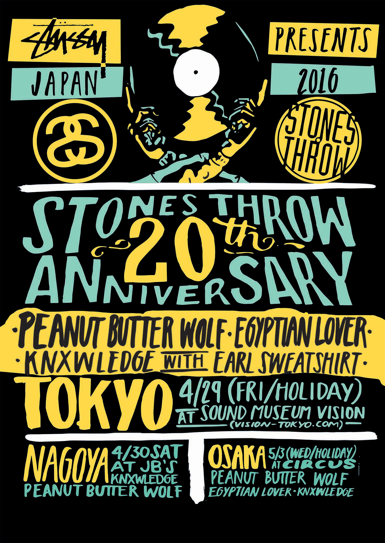 stones throw - stussy japan 2016 poster with ammendments